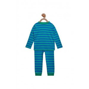 Berrytree Organic Full Sleeves Night Suit Green Stripes