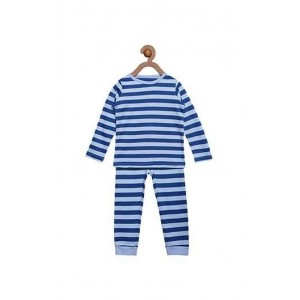 Berrytree Organic Full Sleeves Night Suit Blue Stripes