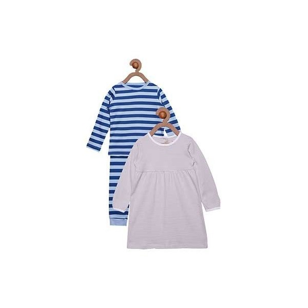 Berrytree Organic Full Sleeves Night Suit And Dress Combo