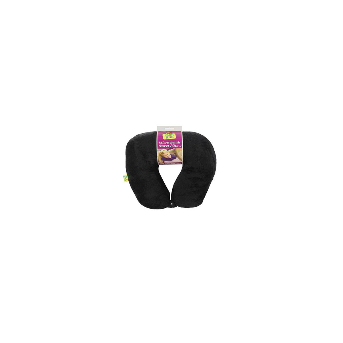 Viaggi Microbeads Travel Neck Pillow with Fleece (BLACK)
