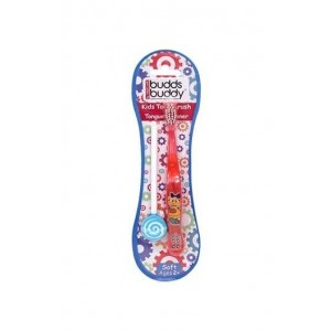Buddsbuddy Kids Toothbrush + Tongue Cleaner 2Pcs Pack, Red