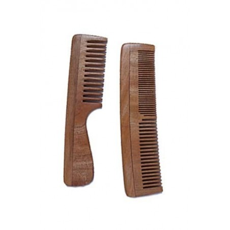 Woods And Petals- Neem Wood Combs- Set Of 2