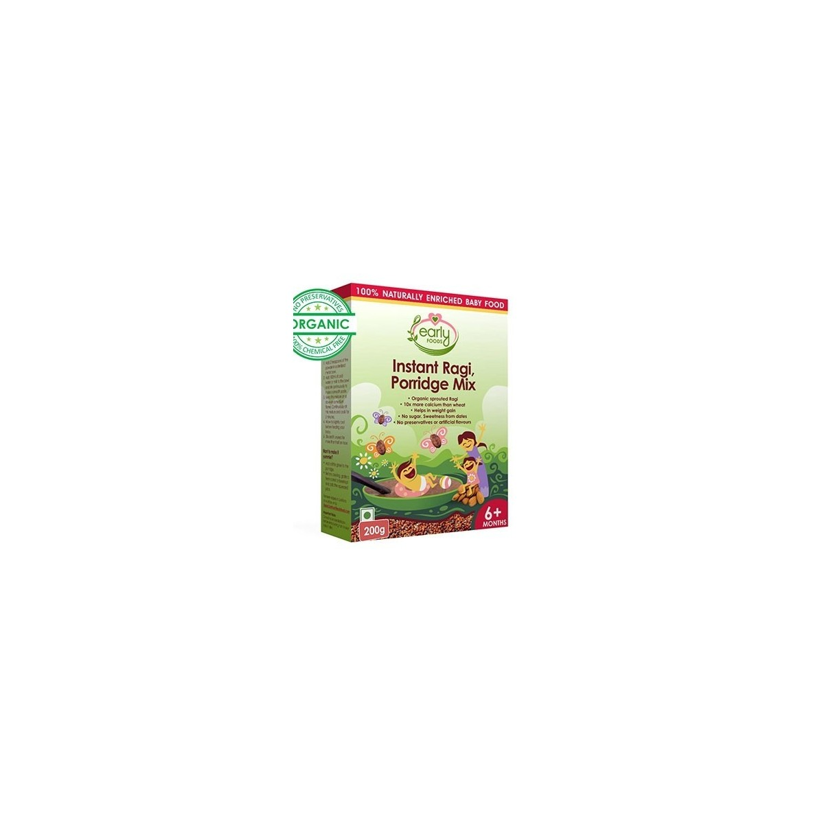 Early Foods -100% Organic Instant Ragi Porridge Mix (Plain)- For 6 Months +