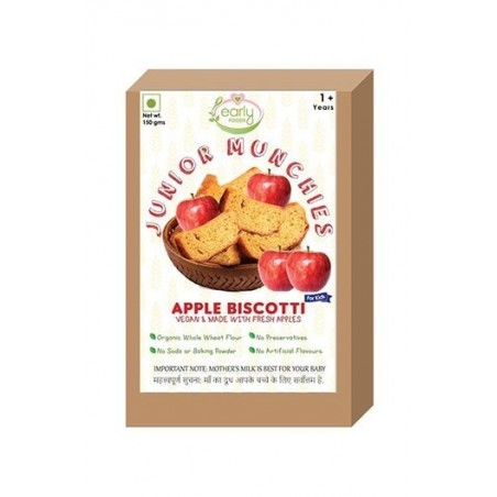 Early Foods- 100% Organic Whole Wheat Apple Biscotti- Baby And Kids Snack-12 Months+