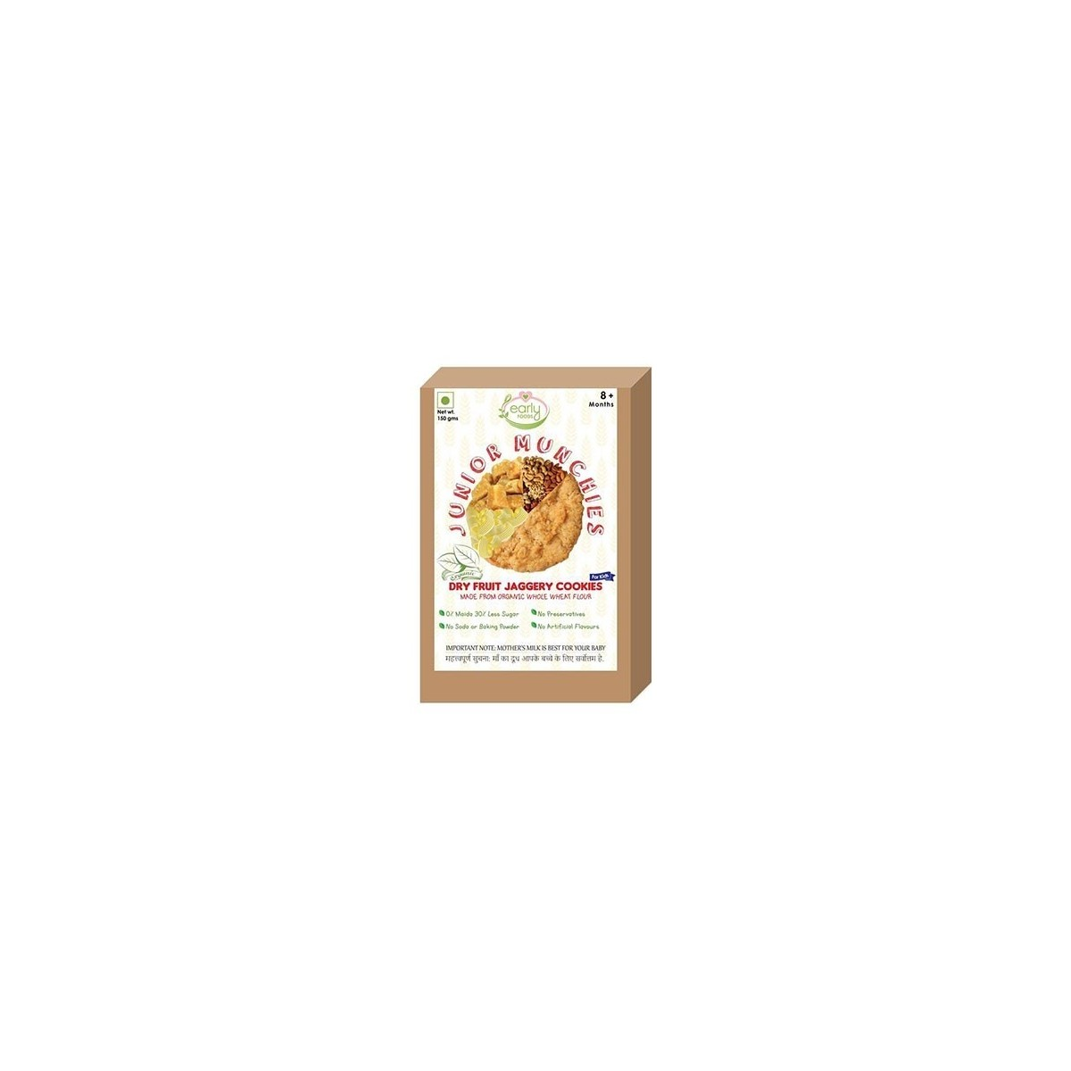 Early Foods- 100% Organic Dry Fruit Jaggery Cookies - Baby And Kids Snack- 8 Months+