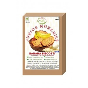 Early Foods-100% Organic Whole Wheat Banana Biscotti- Baby And Kids Snack- 12 Months+