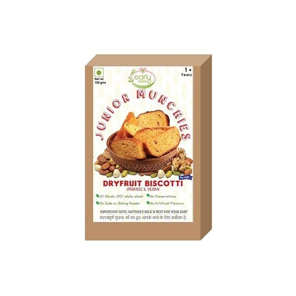 Early Foods-100% Organic Whole Wheat Dry Fruit Biscotti- Baby & Kids Snack- 12 Months+