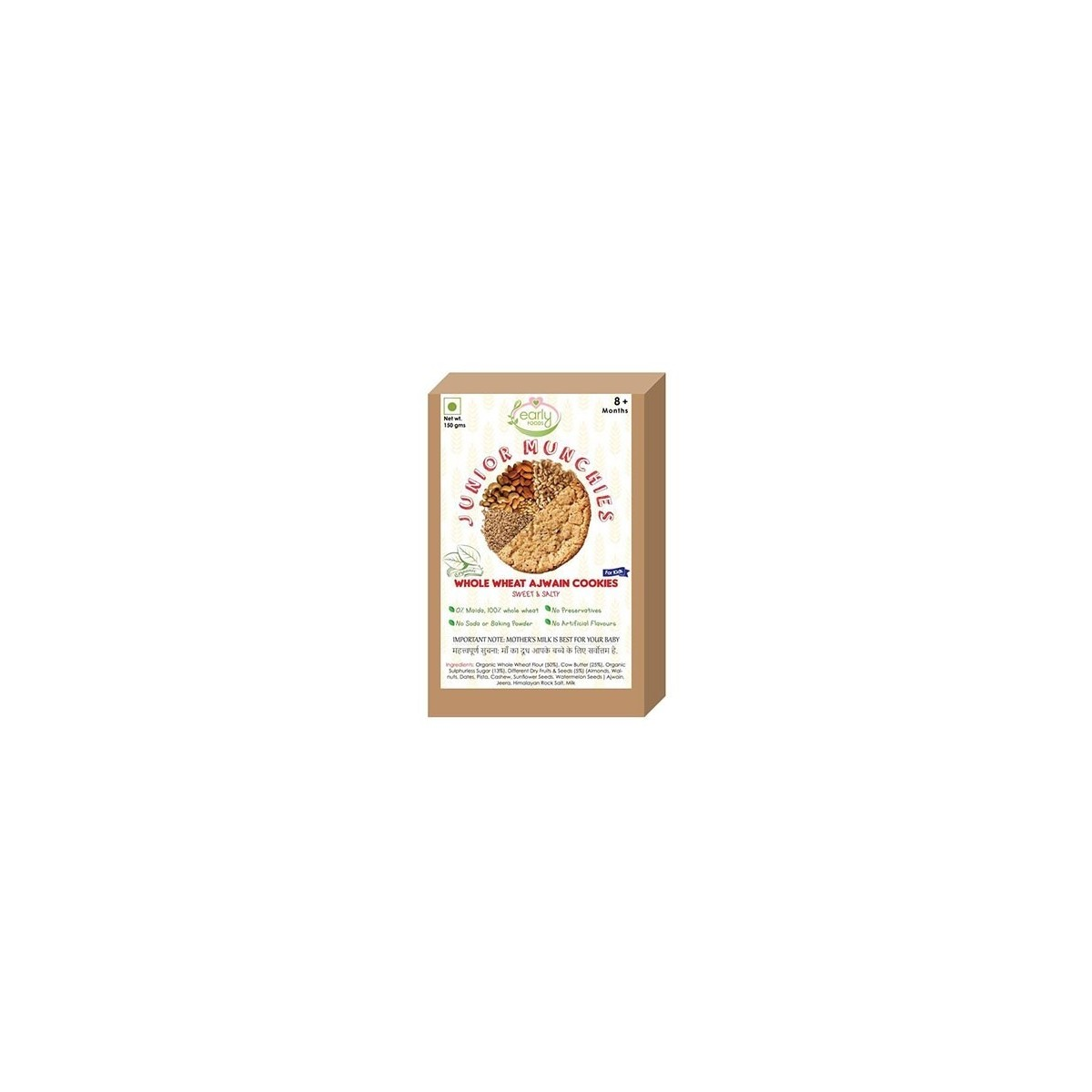 Early Foods- 100% Organic Whole Wheat Ajwain Cookies- Baby And Kids Snack- 8 Months +