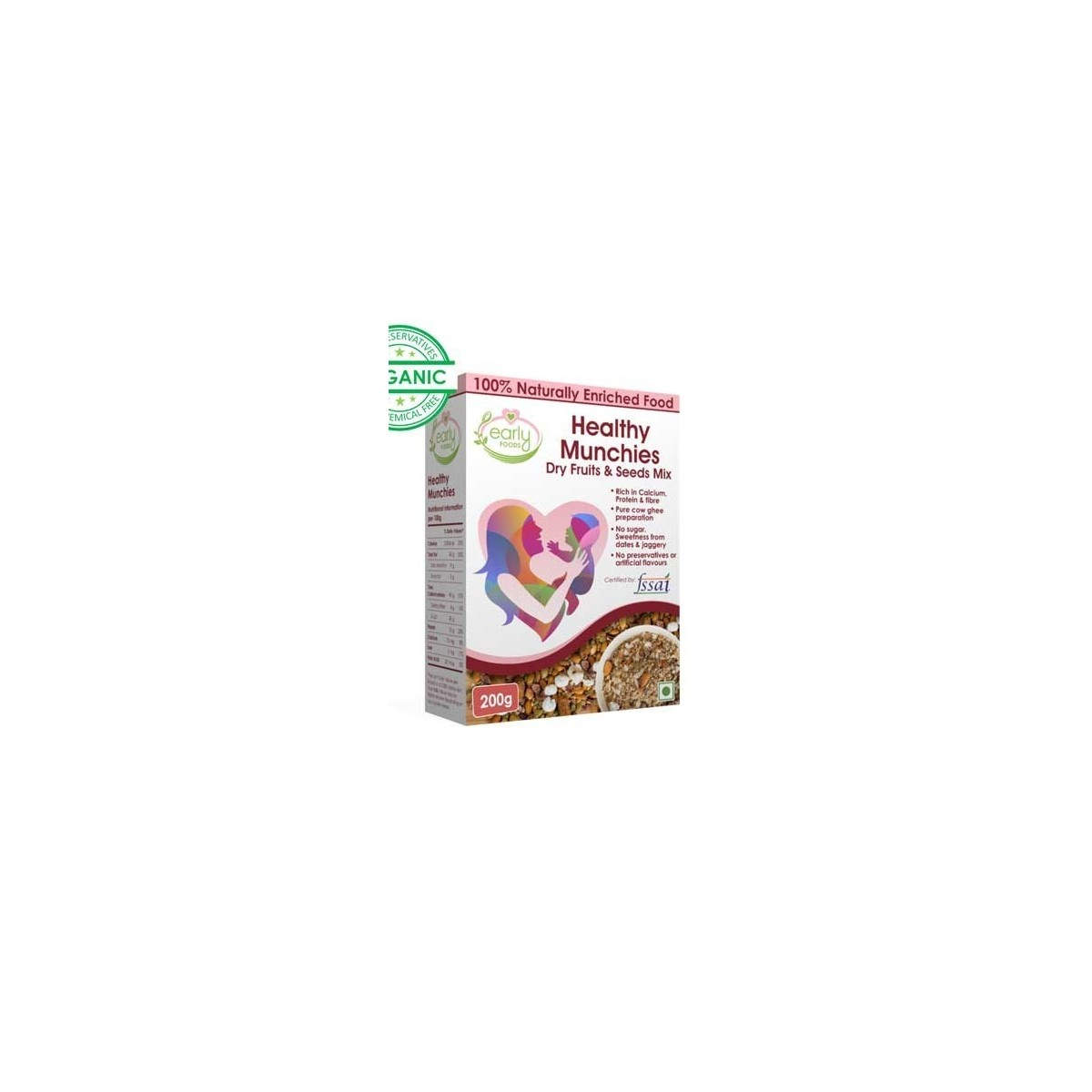 Early Foods- 100% Organic Prenatal Nutrition- Sugarfree Healthy Dry Fruits & Seeds Mix
