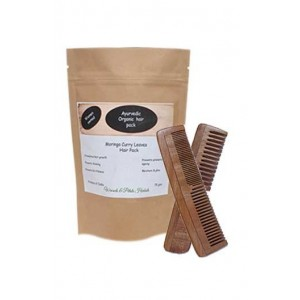 Woods And Petals Hand Made Moringa Curry Leaf Hair Pack & Neem Wood Comb Combo