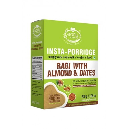 Early Foods- 100% Organic Instant Ragi ,Almond & Date Porridge Mix - For 8 Months+