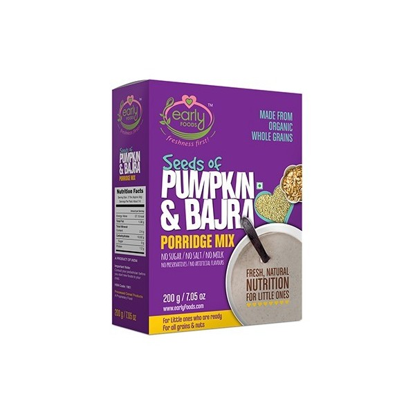 Early Foods- 100% Organic Bajra & Pumpkin Seeds Porridge Mix- For 8 Months+