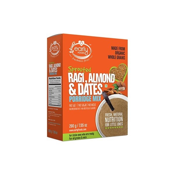 Early Foods- 100% Organic Sprouted Ragi Almond & Date Porridge Mix- For 8 Months+