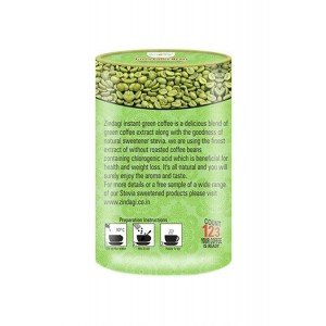 Zindagi Instant Green Coffee Powder - Sugarfree Coffee Powder - Weight Loss Products (Pack Of 2)
