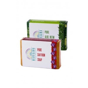Nirvaana Handmade Natural Assorted Soap Set (Aloe Neem & Saffron) Pack of 2
