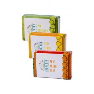 Nirvaana Handmade Natural Assorted Soap Set (Green Apple, Lemon & Orange) Pack of 3