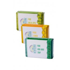Nirvaana Handmade Natural Assorted Soap Set (Lemon, Aqua Mint & Green Apple) Pack of 3