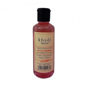 Khadi Rose & Geranium Massage Oil Without Mineral Oil (SLS & Paraben Free)- 210ml