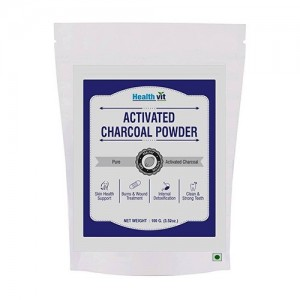 Healthvit Activated Charcoal Powder 100gm For Face Mask, Detoxifies, Helps with Digestion