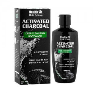 Healthvit Activated Charcoal Deep Cleansing Bodywash, 200ml