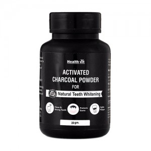 Healthvit Activated Charcoal Powder for Natural Teeth Whitening - 20g