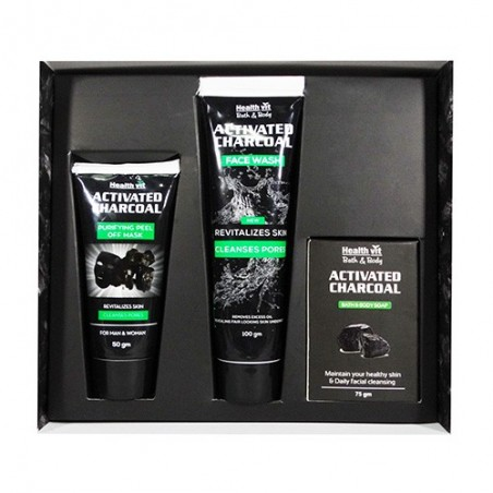 Healthvit Activated Charcoal Series Kit (set of Charcoal Face wash, Charcoal peel of mask, Charcoal Soap for Men and Women)