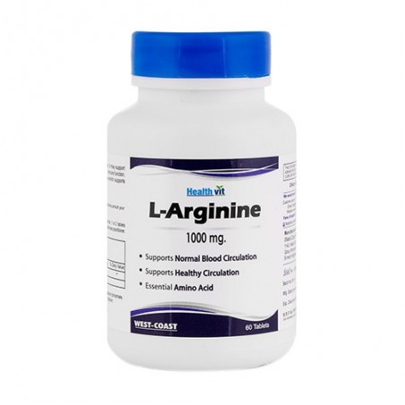 Healthvit L-Arginine 1000mg Essential Amino Acids 60 Tablets