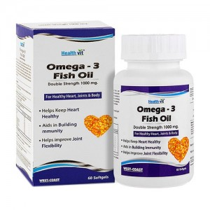 Healthvit Omega-3 Fish Oil 1000mg Double Strength EPA 180mg – DHA 120mg 60 Softgels For Healthy Heart, Joints & Body