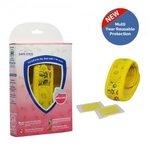 Safe-O-Kid Mosquito Repellent Band (Fruit Ninza) with 2 Refills - 6 Anti mosquito patches-stickers Free