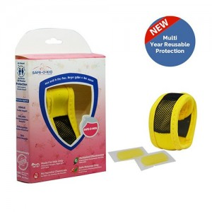 Safe-O-Kid Mosquito Repellent Band with 2 Refills - 6 Anti mosquito patches - stickers Free (Yellow)