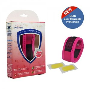 Safe-O-Kid Mosquito Repellent Band Herbal (Pink) with 2 Refills - 6 Anti mosquito patches - stickers Free