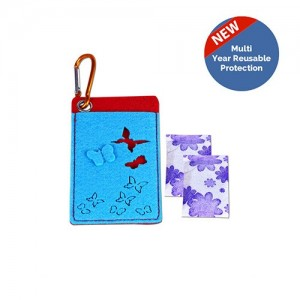 Safe-O-Kid Mosquito Pouches with 2 Refills - Butterfly  - 6 Anti mosquito patches - stickers Free