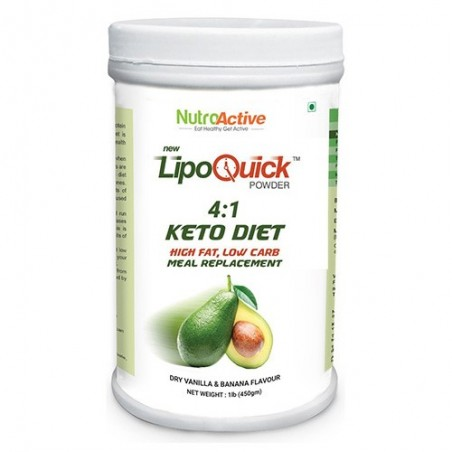 Nutroactive Lipoquick Keto Diet Meal Replacement Low Carb Weight Loss Products - 454 Gm