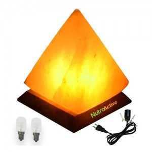 Nutroactive Himalayan Rock Salt Pyramid Lamp 6 Inch (approx. 2 kg) with 4 bulbs & electric cord