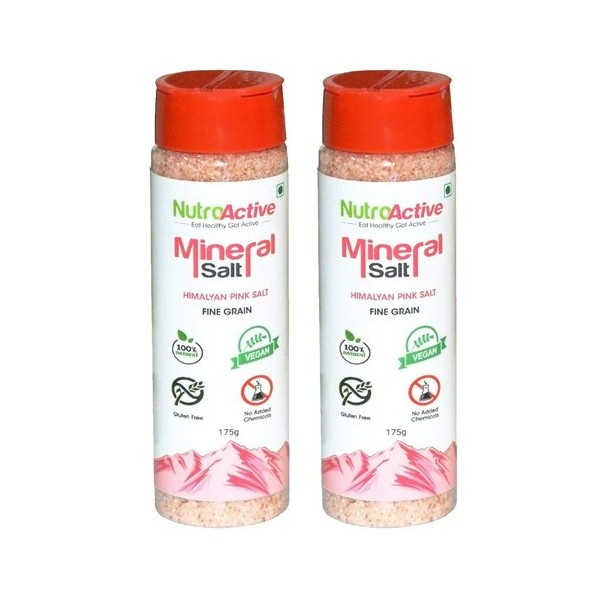 NutroActive Mineral Salt Sprinkler, Shaker (Pack of 2), Himalayan Pink Salt Fine Grain (0.5-1mm) - 175 gm Each