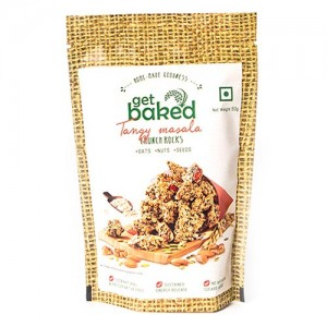 Get Baked - Tangy Masala Crunch Rocks Oat Granola Healthy Snack 50 gm