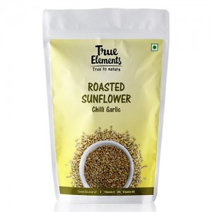 True Elements Spicy Sunflower Seeds Roasted Chilli Garlic 125 gm