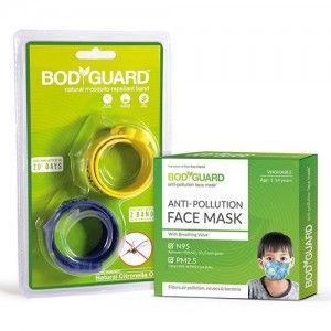 BodyGuard Anti Pollution Face Mask with Natural Anti Mosquito Band ( 1 Mask + 2 Bands)
