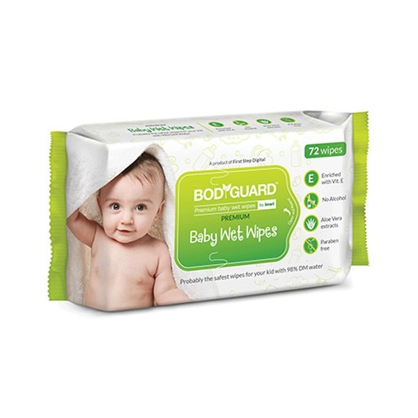 BodyGuard Premium Paraben Free Baby Wet Wipes with Aloe Vera - 72 Wipes (1 Pack, 72 each)