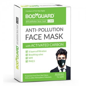 BodyGuard Reusable Anti Pollution Mask with Activated Carbon, N99 + PM2.5 for Men and Women (Pack of 1)