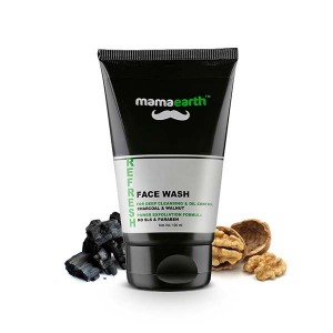Mamaearth Men's Refresh Oil Control SLS and Paraben-Less Facewash with Charcoal and Walnut