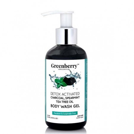 Greenberry Organics Activated Charcoal, Spearmint & Tea Tree Oil Body Wash Gel