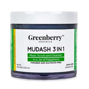 Greenberry Organics Mudash 3 in 1 - Face Mask, Scrub and Cleanser