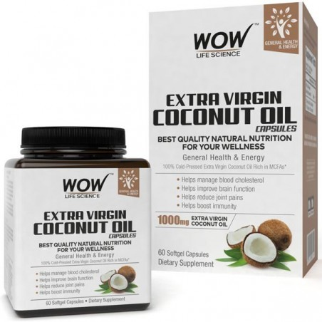 Wow Extra Virgin Coconut Oil, 60 Softgel Capsules