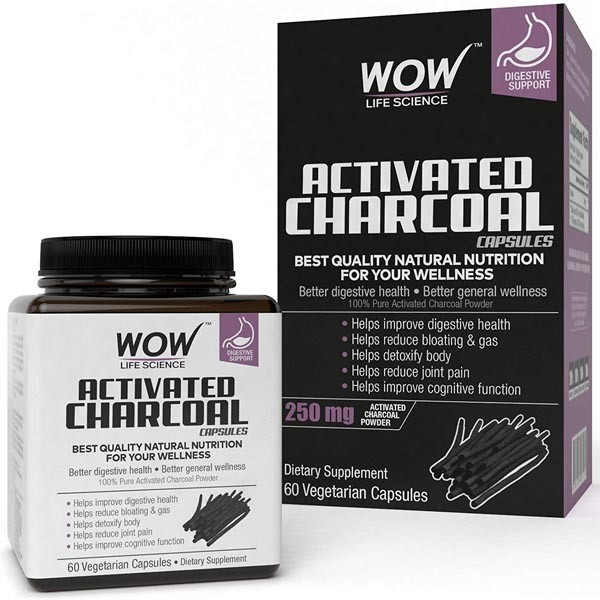 Wow Activated Charcoal Capsules, 60 Capsules