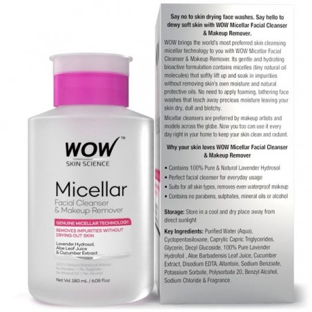 Wow Micellar Facial Cleanser & Makeup Remover
