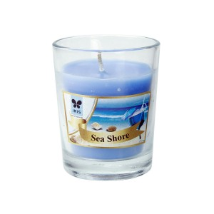 Iris Shot Glass Votive Candles Sea Shore