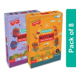 Timios Energy Bar Mix Flavours(Berry Bar And Nutty Bar) - Pack of 2