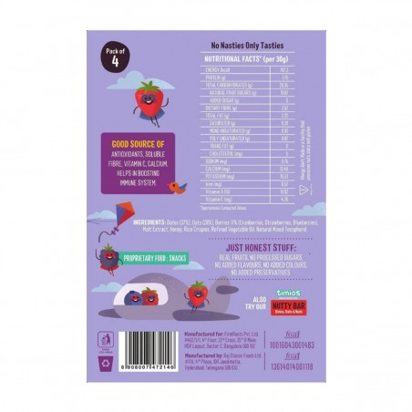 Timios Energy Bar Mix Flavours(Berry Bar) Back