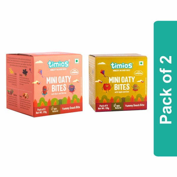 Timios Mini Oaty Bites Mix Flavours(Nuts & Berries And Apple & Kiwi) - Pack of 2